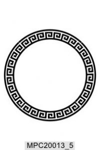 Round frame with a meander. Vector black and white  illustration.